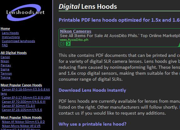 printable lens hood