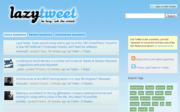 6 Twitter Web Apps to Ask Questions From a Twitter Crowd lazytweet