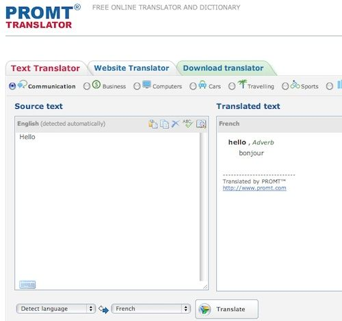 translate text webpages