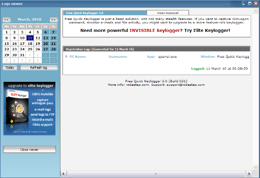 Free Keylogger Full-Screen