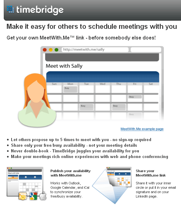 MeetWithMe: Makes it easy for others to schedule meetings with you  timebridge