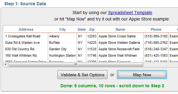 map spreadsheet data