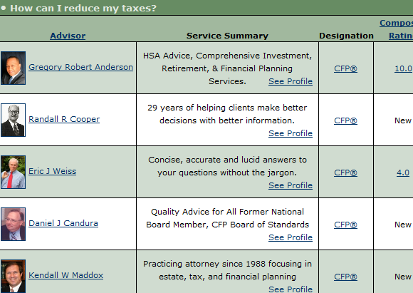 find financial advisors