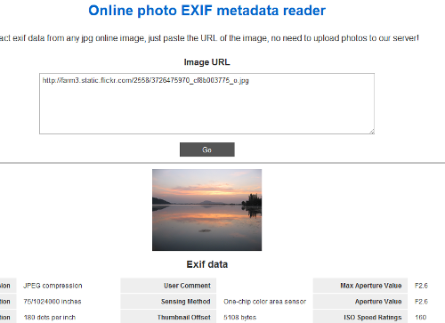 extract exif data online