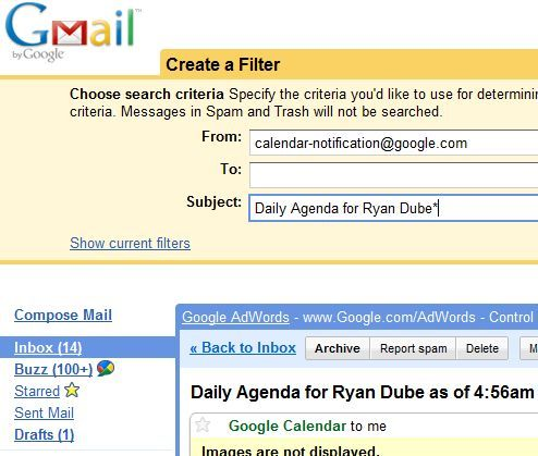 Free Up Your Time With Google Calendar, Blog & Status Updates gmailfilter5