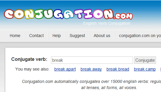 english conjugation dictionary