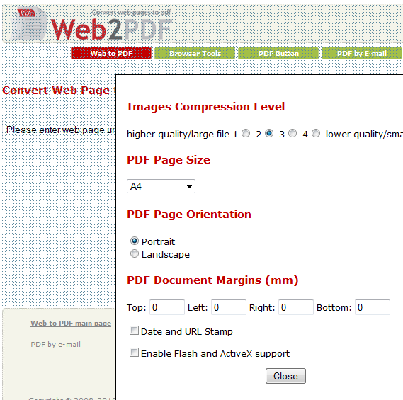 convert web pages to pdf