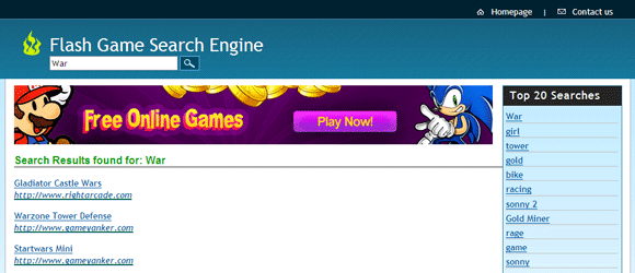search engine for online games