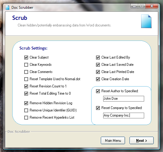 How To Scrub Metadata From Word Documents [Windows] docscrubber scrub settings