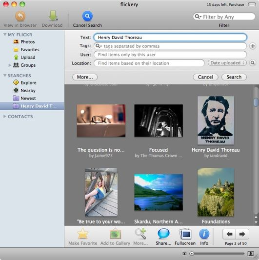 Total Access to Flickr Account from your Mac [MakeUseOf Giveaway] flickerysearch