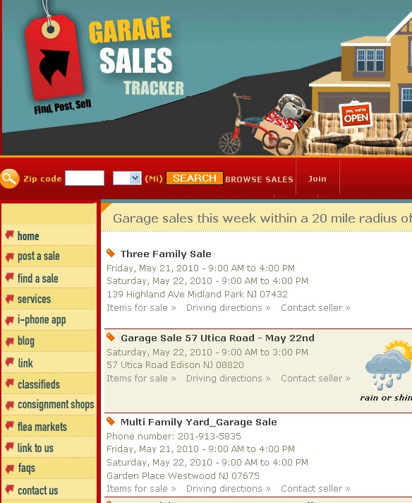 garagesalestracker   GarageSalesTracker: List & Find Garage Sales In Your Area