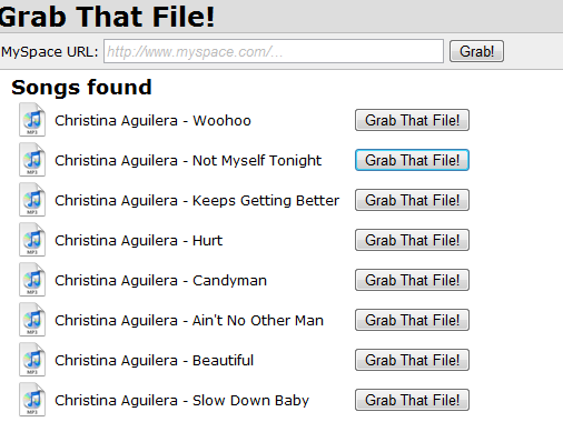 save songs from myspace