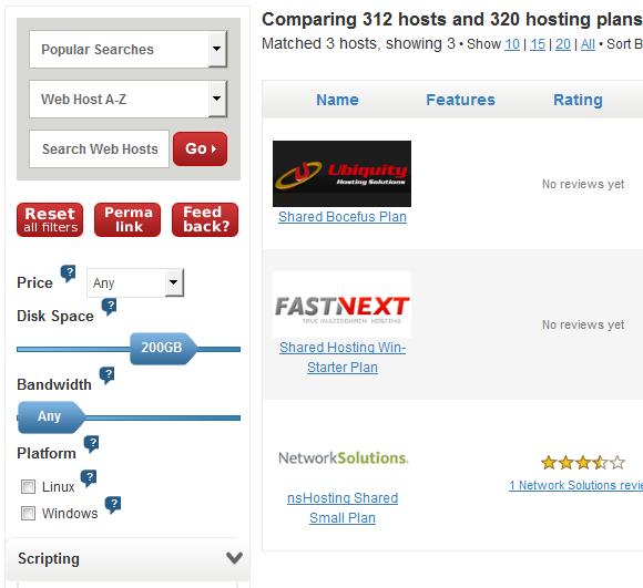 compare hosting plans