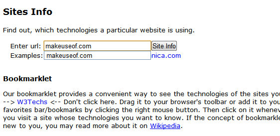 W3TechSites: Know Web Technologies Used in Websites