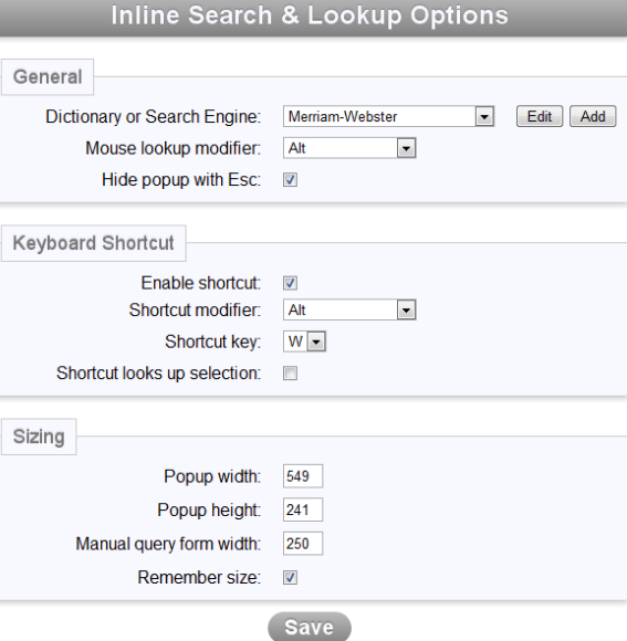 inline search & lookup