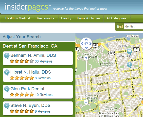 insiderpages   Doctor Finder: Finds medical specialists along with patient reviews