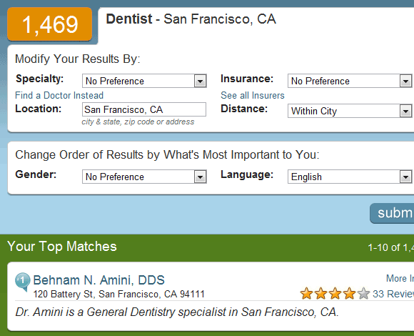 insiderpages1   Doctor Finder: Finds medical specialists along with patient reviews