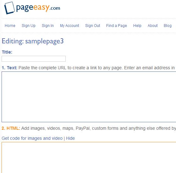 free temporary web page