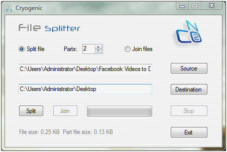 splitter   Cryogenic FileSplitter: Desktop Utility To Split Big Files