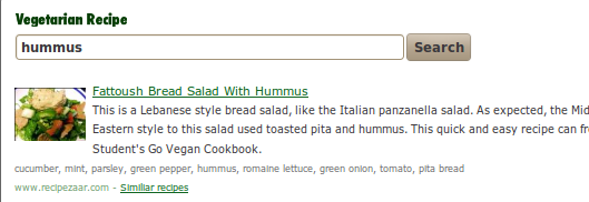 vegetarian recipe search