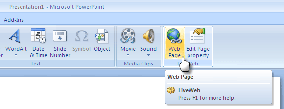 How To Add Live Web Pages To A PowerPoint Slide PowerPoint Addin03c