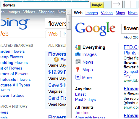 google and bing combined