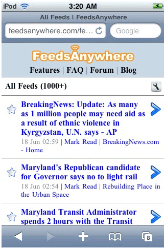 feedseverywhere   FeedsAnywhere: Simple web based RSS reader for mobile phone