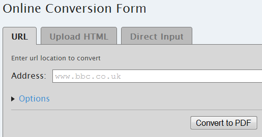 create pdf from a web page