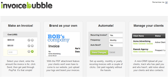 invoicebubble2   Invoice Bubble: Simple Invoicing Program Online