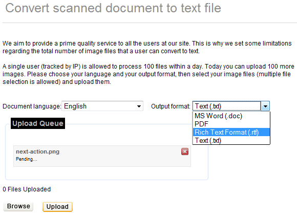 ocr   OCROnline: Recognizes Text in Pictures & Converts into PDF, Doc, RTF & Txt Format