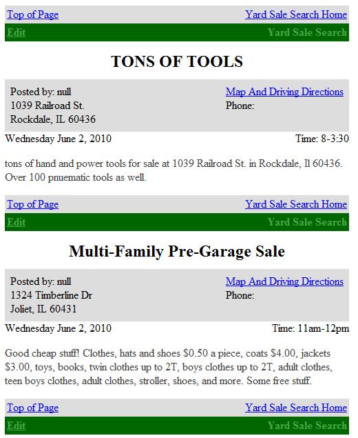 yard sales online