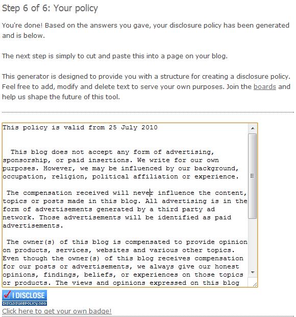 website disclosure statement