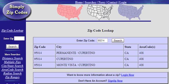 zip code look up