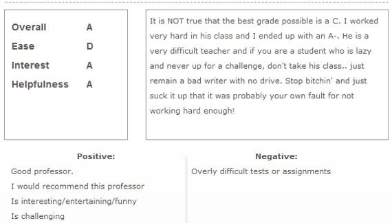 4 great rate my teacher and professor sites the rating system is a bit more unique than others with letter grades comment and simple positive and negative columns spiritdancerdesigns Gallery