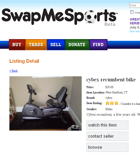 trade sports equipment