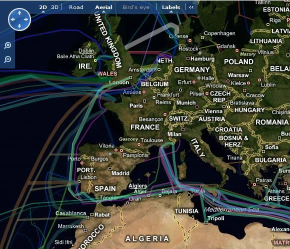 underwater internet cable map