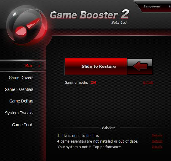 GameBooster: Put Your PC Into Gaming Mode With A Click Optimized game