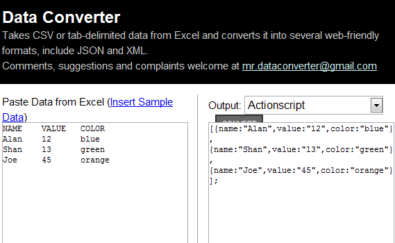 convert excel data into xml