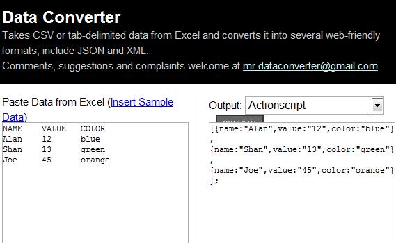 convert excel data into xml