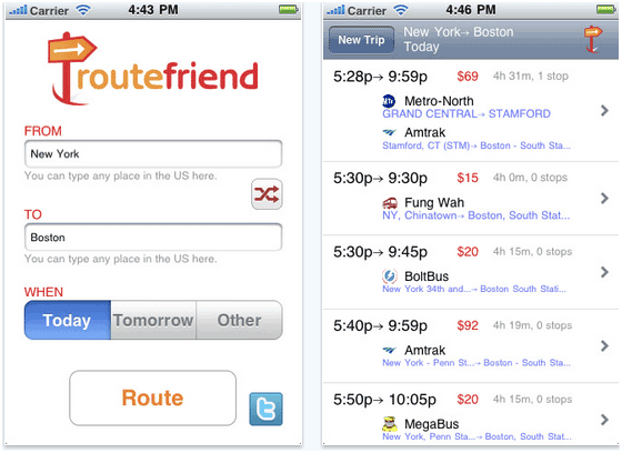 bus and train routes