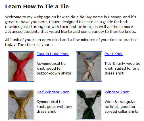 how to tie a neck tie