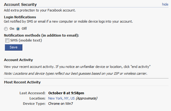 Facebook Now Texts Users Temporary One-Time Passwords [News] 1 fb security settings