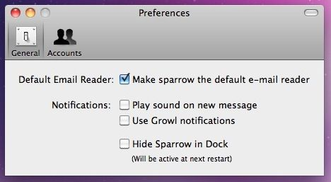 Sparrow - A New Gmail Desktop Client for Mac Users Preferences