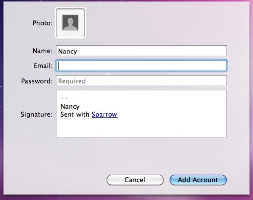 Sparrow - A New Gmail Desktop Client for Mac Users addaccount