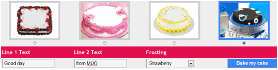 "send a virtual cake /></p> <p>Cakesy is a free to use website that lets you create cakes online. You can have customized cakes baked and then share your virtual cakes with your friends and loved ones. All you have to do is enter the main and secondary text for the cake and then select a cake frosting – available frostings include chocolate, strawberry, blueberry, and vanilla. Finally you click on the blue button saying ""Bake my Cake"".</p> <p><img src="