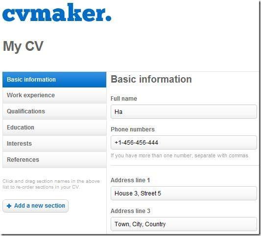 make a free cv online