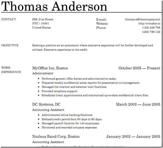 cvmaker make a cv for free as pdf