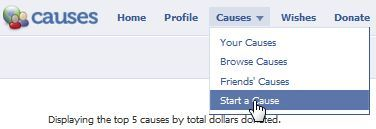 causes on facebook