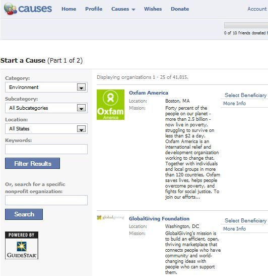 can you have causes on your facebook pages
