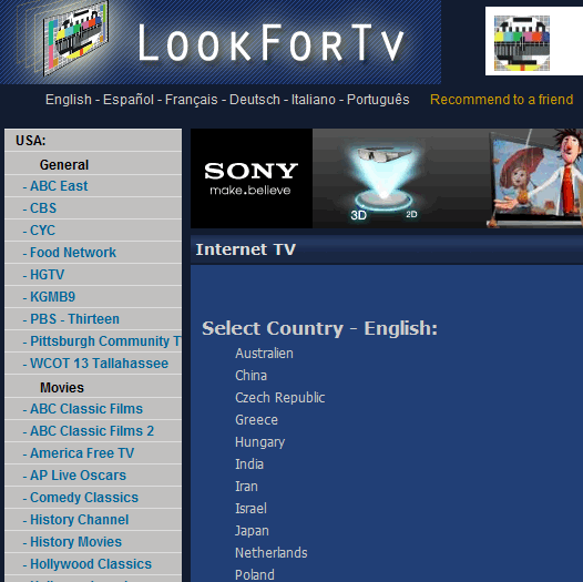 directory of tv channels